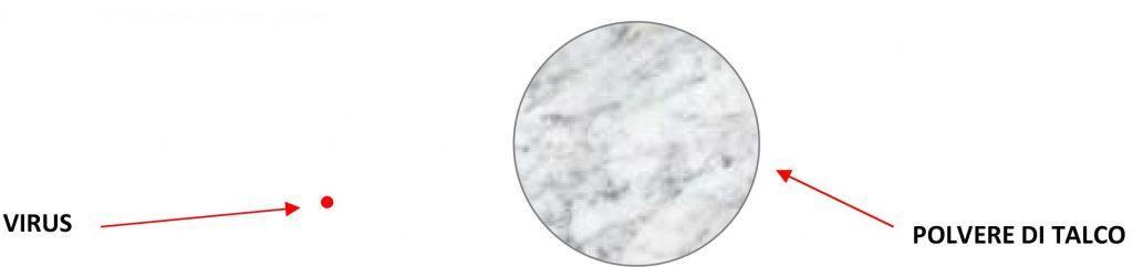 Proporzione tra polvere di talco e virus